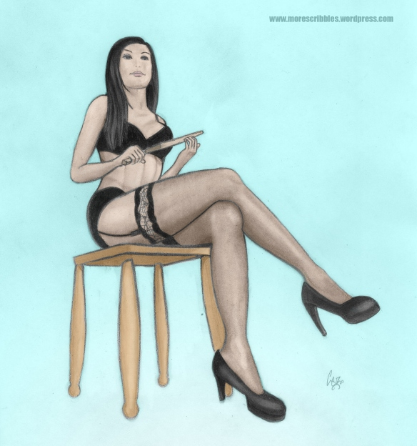 dominatrix pencil coloured