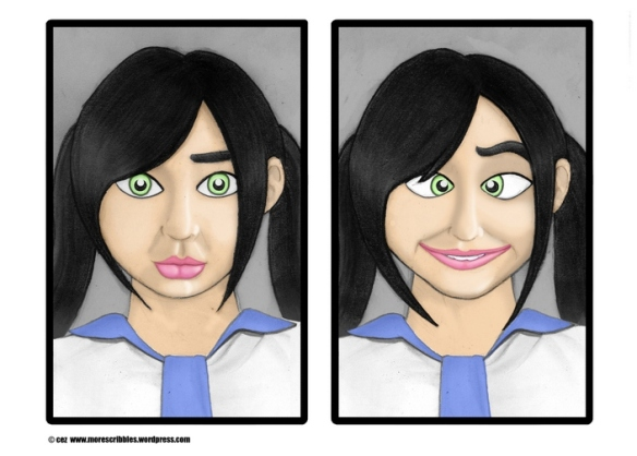 japanese schoolgirl faces drawing